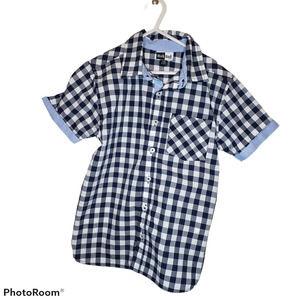 Mick & Mack blue checkered button front shirt
